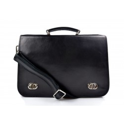 Leather mens messenger women messenger leather bag black