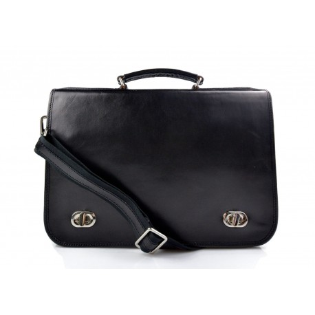 Leather mens messenger women messenger leather bag black