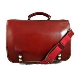 Cartella borsa pelle messenger uomo donna cartella pelle borsa spalla e manico rosso