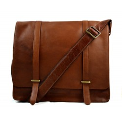 Mens leather messenger bag brown shoulder bag genuine leather briefcase