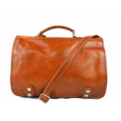 Messenger leather bag office bag mens business shoulder bag satchel honey