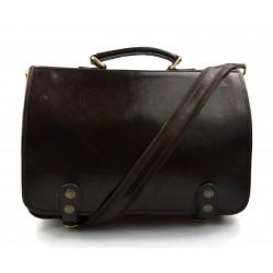 Sacoche ordinateur messenger sac à main cuir bandoulière cuir sac d'épaule sac postier marron foncè