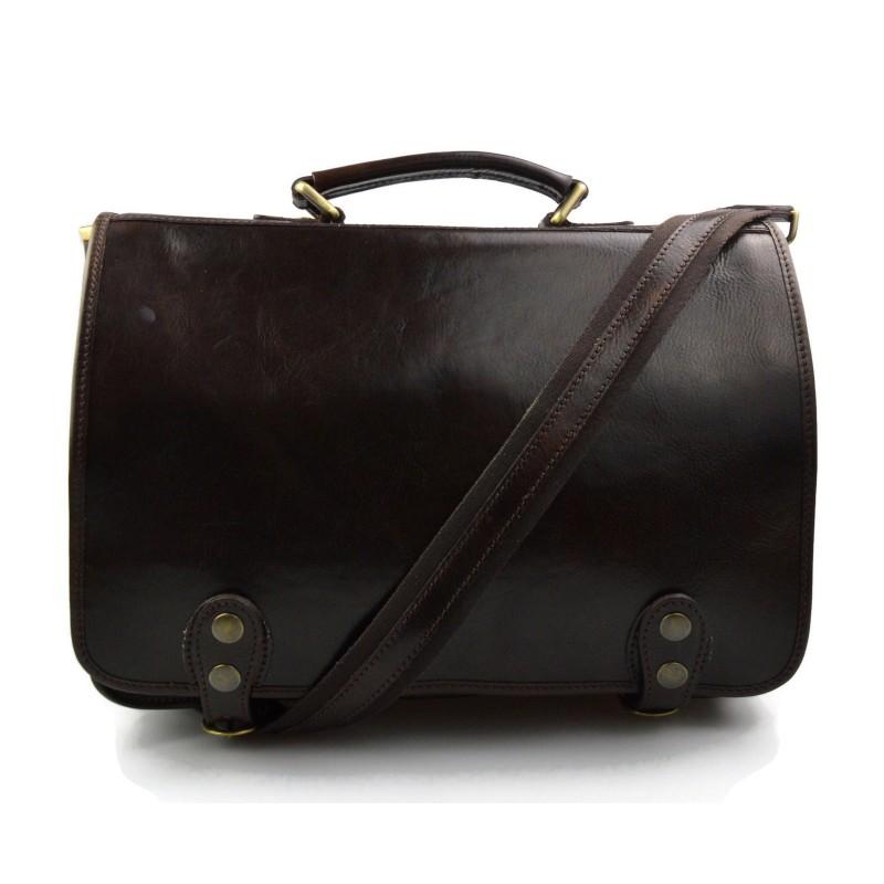 ba96a3548c ... Genuine italian leather shoulder messenger bag ipad laptop ladies men  notebook dark brown ...