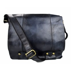 Blue leather shoulder bag leather retro satchel mens women vintage messenger