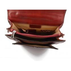 Cartella portadocumenti A4 portadocumenti chiusura zip manico raccoglitore vera pelle rosso