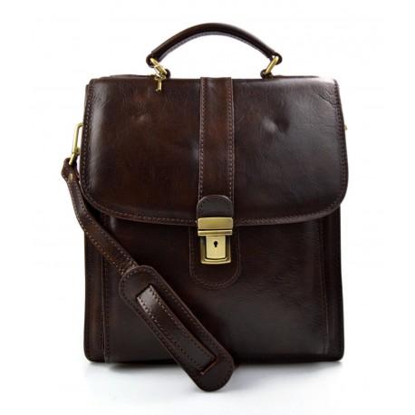 Bolso de hombre bolso de mujer bandolera de cuero marron oscuro cartero cuero genuino hobo bag bolso de espalda