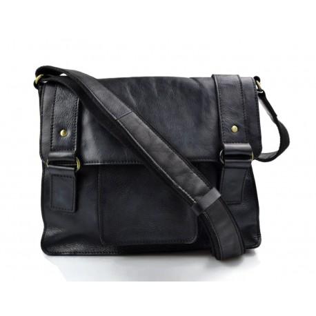 ef7b500474e0b8 Borsa pelle vintage uomo donna borsa messenger nero tracolla