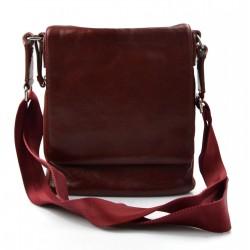 Leather red shoulder bag mens women sling bag messenger leather satchel crossbody