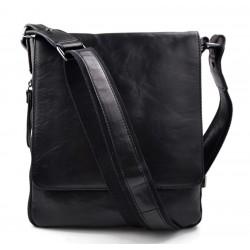Sac en cuir sac noir à bandoulière homme femme sac d'épaule bandoulière en cuir