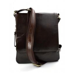 Sac en cuir sac marron foncè à bandoulière homme femme sac d'épaule bandoulière en cuir