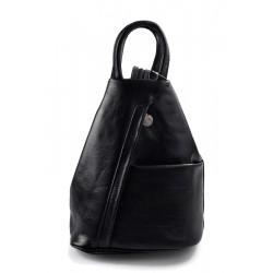 Bolso de cuero genuino mochila de hombre de piel mochila de mujer negro
