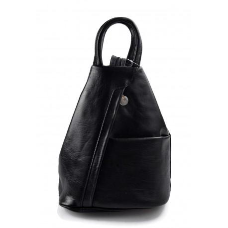 Leather backpack ladies mens leather travel bag weekender sports bag black