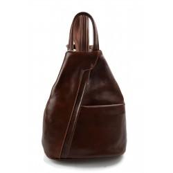 Bolso de cuero genuino mochila de hombre de piel mochila de mujer marrón