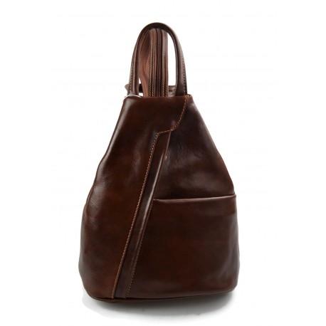 Leather backpack ladies mens leather travel bag weekender sport bag brown