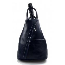 Leather backpack ladies mens leather travel bag weekender sports bag blue