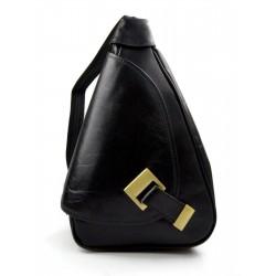 Leather backpack travel bag ladies mens leather weekender black