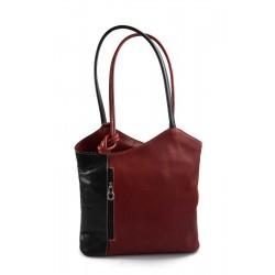 Women backpack handbag black - red leather bag clutch hobo bag backpack