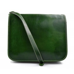 Leather messenger bag mens leather bag green shoulder bag