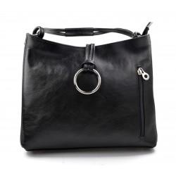 Leather ladies handbag shoulder bag luxury bag women handbag made in Italy women handbag black