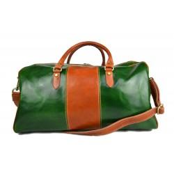 Borsone uomo donna borsa viaggio con manici e tracolla vera pelle verde marrone chiaro