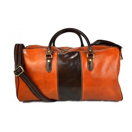 Borsone uomo donna borsa viaggio con manici e tracolla vera pelle miele marrone
