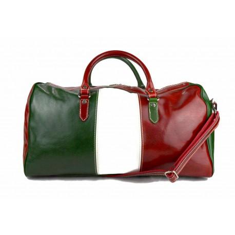 7be49fb658 Sac de voyage en cuir sac de sport sac bagage drapeau italien rouge