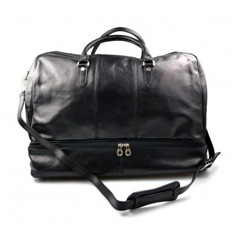 6a45e549e8 Borsone uomo donna pelle borsa viaggio con manici e tracolla vera pelle  nero borsone palestra borsa