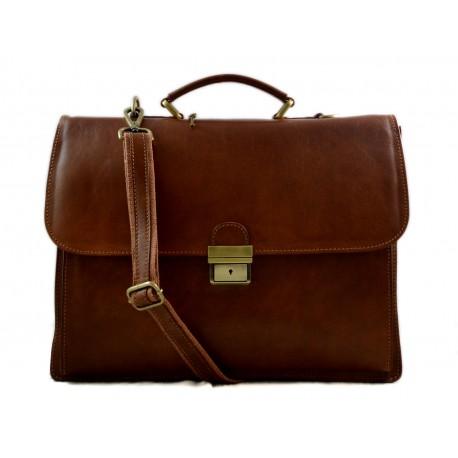 nuovo prodotto e0106 e2817 Cartella pelle uomo donna valigetta 24 ore borsa pelle a mano e a tracolla  executive portadocumenti in pelle marrone