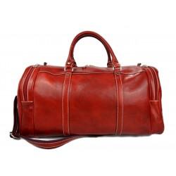 Borsone uomo donna borsa viaggio con manici e tracolla vera pelle rosso
