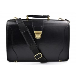 Doctor bag leather mens doctor bag XXL handbag ladies medical bag black