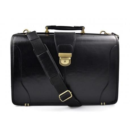 Doctor bag leather mens doctor bag XXL handbag ladies medical bag black