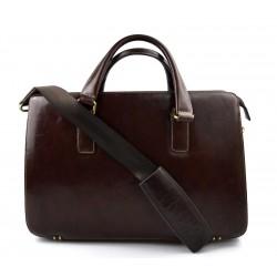 Laptop leather bag messenger satchel mens ladies leather bag shoulderbag brown