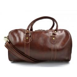 Sac de voyage en cuir homme femme bandoulière en cuir brun