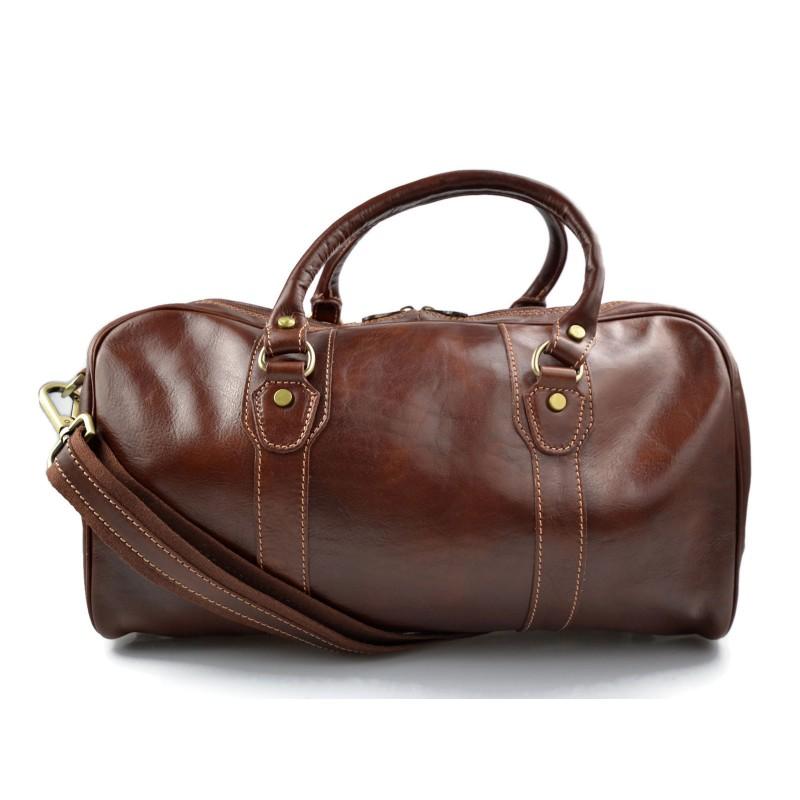 Dettagli su Borsone uomo donna borsa viaggio con manici e tracolla vera pelle marrone