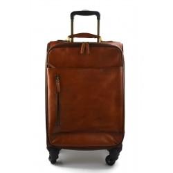 Bolso de viaje de cuero maleta trolley cuero marron oscuro bolso con ruedas y manejar