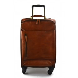 Leather trolley travel bag weekender overnight dark brown