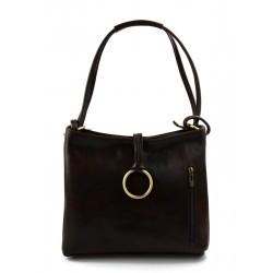 Leather ladies handbag shoulder bag luxury bag women handbag made in Italy women handbag dark brown