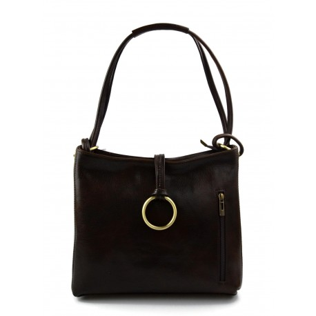 Leather ladies handbag shoulder bag luxury bag women handbag made in Italy women handbag dark brown