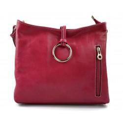 Leather ladies handbag shoulder bag luxury bag women handbag made in Italy women handbag fuchsia