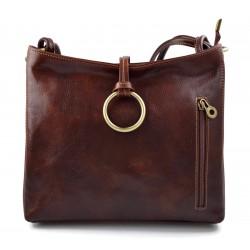 Sacoche femme sac à main en cuir sacoche de cuir besace bandoulière traverser sac d'èpaule cuir vèritable brun fonce