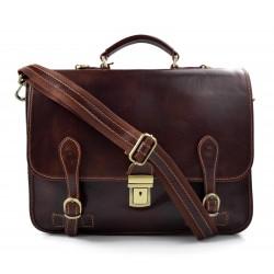 Cartella pelle uomo donna valigetta 24 ore borsa pelle marrone