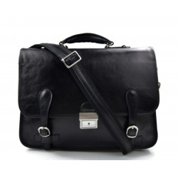 Leather briefcase mens ladies office handbag black