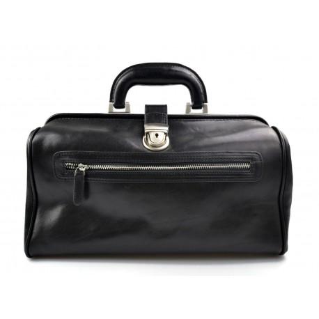 Leather doctor bag medical bag handbag ladies men leather bag vintage medical bag retro doctor bag  luxury bag black