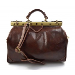 Ladies leather handbag doctor bag handheld shoulder bag brown made in Italy genuine leather bag
