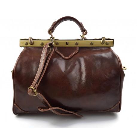 Ladies leather handbag doctor bag handheld shoulder bag brown made in Italy genuine leather bag