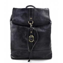 Vintage leather backpack genuine washed leather travel bag blue