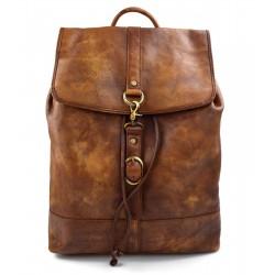 Vintage leather backpack genuine washed leather travel bag brown