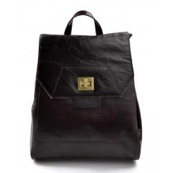 Backpack leather womens travel bag leather weekender sports bag gym bag leather dark brown