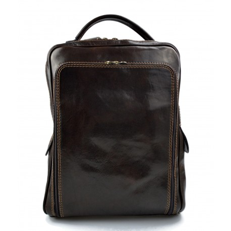 Backpack genuine leather travel bag weekender sports bag dark brown