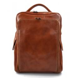 Backpack genuine leather travel bag weekender sports bag honey